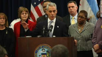 Chicago mayor Rahm Emanuel and other local officials demanding stronger gun regulations at a news conference last week