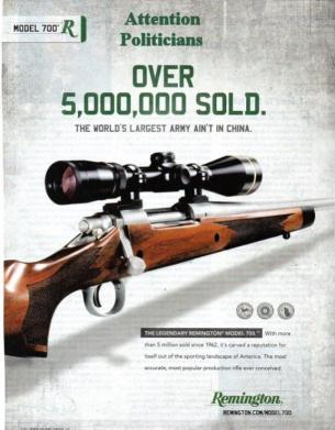 "Remington gun manufacturer's ad promoting sales of the popular Model 700 rifle. Remington boasts this rifle can be fitted with a ""double stack 50-round clip (magazine)."""