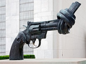 "The bronze ""Knotted Gun"" sculpture by Swedish artist Carl Fredrik Reutersward, outside of the United Nations headquarters in New York. It stands as a constant reminder of gun violence around the world."