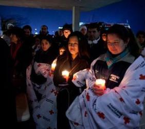 Around the world, candlelight vigils were held to remember the Sandy Hook School children and teachers killed.