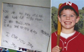A boy's heartbreaking letter to six-year-old Sandy Hook victim Jack Pinto has been shared thousands of times on the internet as the United States struggles to come to terms with the atrocity.