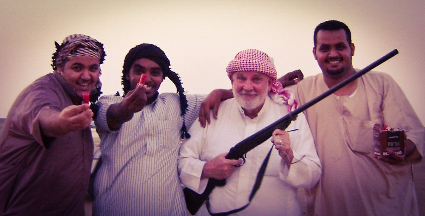 Sam (in white thawb), pictured here with (l-r) Majed Olayan, Majed Bandar and Fahad Olayan, is given expert Bedouin instruction in hunting desert quail with an heirloom 12-gauge, single-shot shotgun!