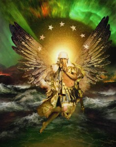 An archangel of God will sound a sudden trumpet call at the great resurrection.
