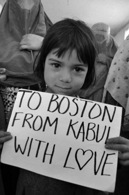 "Following the Boston attacks, photos showing Afghans holding a sign reading ""To Boston from Kabul, with love"" started spreading on social networks."