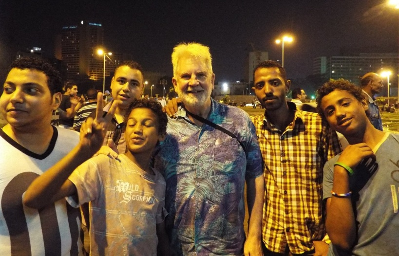 Sam Shropshire with protesters on Tahrir Square in Cairo.