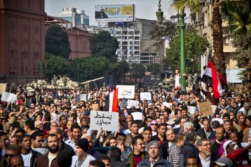 Millions of Egyptians pour into streets throughout Egypt to express their disappointment with President Morsi.