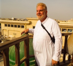 Sam stands atop Jeddah's Khlil Mosque minaret.