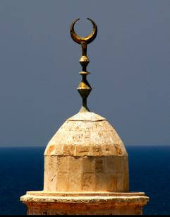 The crescent moon adorns the tops of many mosques.