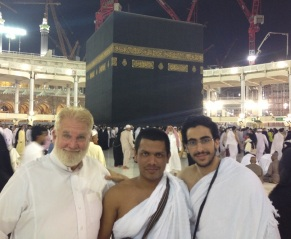 Sam, Shafik and Muhammad in front of the holy Kaaba in Mecca.