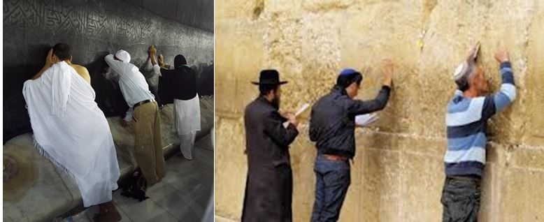 Left:  Muslim pray at the Kaaba in Mecca. Right: Jews praying at the Wailing Wall in Jerusalem.
