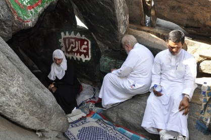 Poet Nimah Nawwa, Sam and Muadhan Shafik Zubir meditate and pray in the Cave of Hira.
