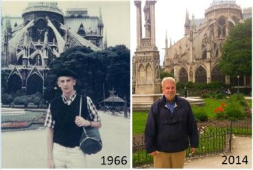 Sam stood behind Notre Dame Cathedral some 48 years after he first visited Paris!