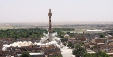 ISIS is now destroying Shia, Sunni and Sufi mosques around Mosul. In this photo posted on a militant website that frequently carries official statements from the Islamic State extremist group, which has been verified and is consistent with other AP reporting, Shiite's Jawad Husseiniya mosque explodes in Tal Afar, Iraq.