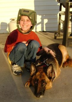 "Andrew and his service dog ""Alaya."""