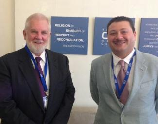 Sam Shropshire with Fahad Abualnasr, chief of staff of KAICIID, Vienna, Austria.