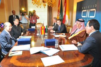 The Foreign Minister of Austria, Sebastian Kurz, the Foreign Minister of Saudi Arabia, Prince Saud Al-Faisal, the Deputy Foreign Minister of Spain, Gonzalo de Benito Secades, and Reverend Father Miguel Ángel Ayuso Guixot of the the Founding Observer, the Holy See, signed the declaration during a Ministerial Meeting of the Council of Parties to the KAICIID Dialogue Centre in New York on 25 September 2014.