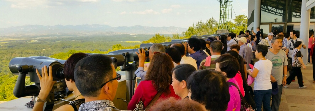 Scores of South Koreans wait their turn to get a glimpse of the Demilitarize Zone and North Korea.
