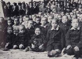 "During a war memorial ceremony, some of the thousands of ""A-bomb orphans"" on Ninoshima Island."