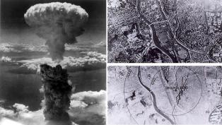 The Enola Gay crew photographed the mushroom cloud over Hiroshima. The photos on the right show the city of Hiroshima before and after the blast.