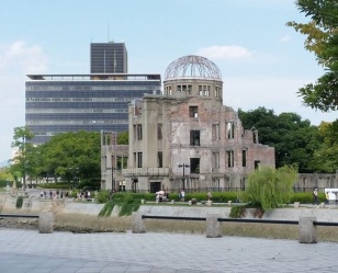 "The skeletal remains of the ""Atomic-bomb Dome"" is the sole remaining structure damaged by the blast. Hiroshima Prefectural Products Exhibition Hall"