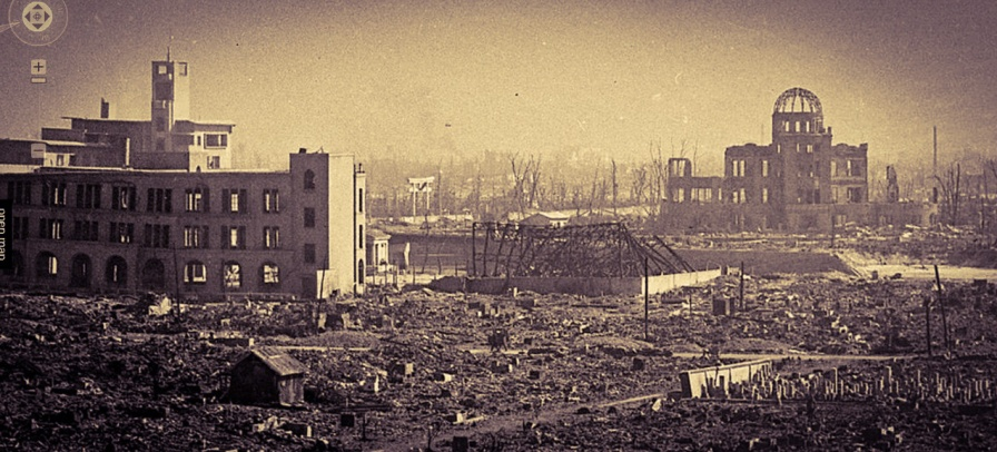 Hiroshima, Japan, days after the devastating blast of the the A-bomb.