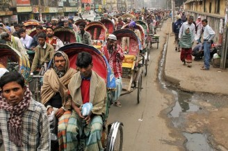 Pedicabs still serve as a main means of transportation in the capital city Dhaka.