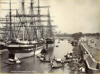 British East India Company ships at dock in Calcutta, India.