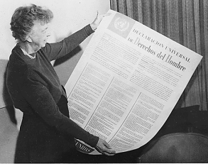 Eleanor Roosevelt reviews the Spanish version of the Universal Declaration of Human Rights.