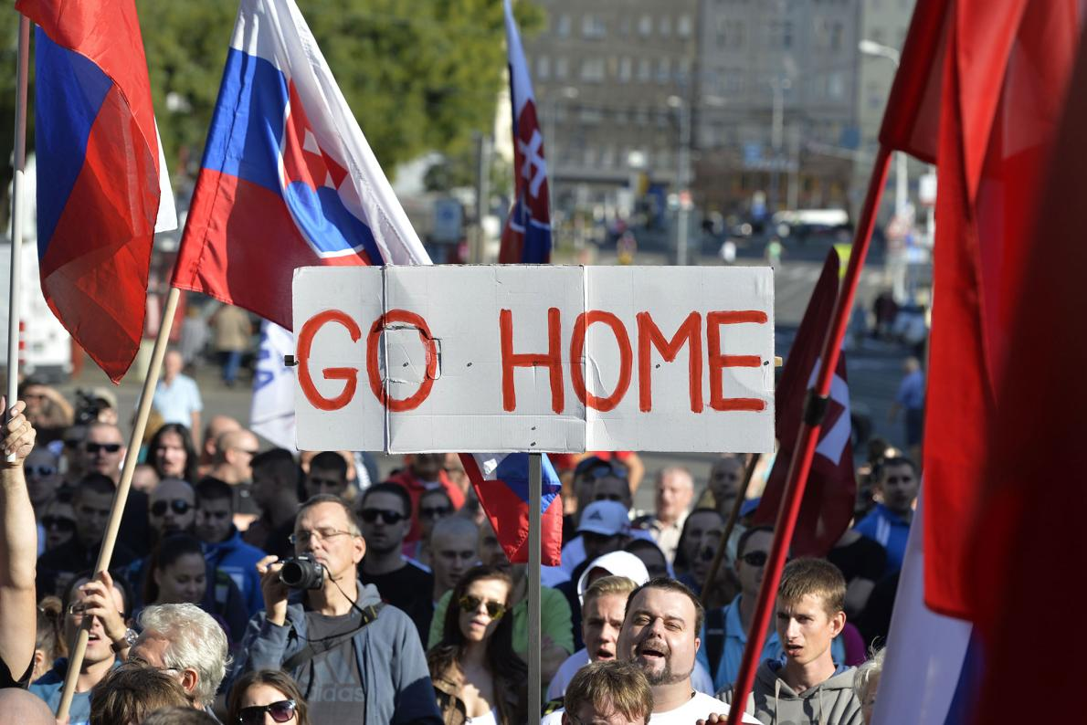 A rally organized by the Slovak group Stop Islamisation of Europe and backed by far-right politicians